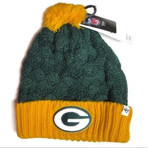 Green Bay Packers Pom Knit Hat NWT Green Yellow